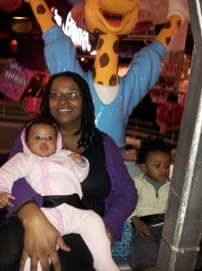 Me, my nephew, and Omega on the Ferris Wheel
