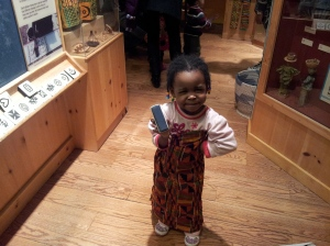Mamacita in the African shop at the Brooklyn Museum.